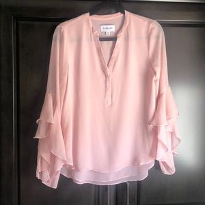 Pink Blouse NWOT Bell sleeve and ruffles